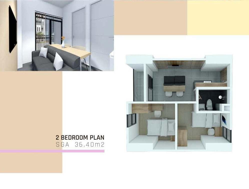2 Bedroom Plan SGA 36.40 M2
